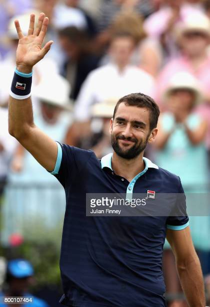 Marin Cilic of Croatia celebrates during the mens singles Quarter final match against Donald Young of The United States on day five of the 2017 Aegon...