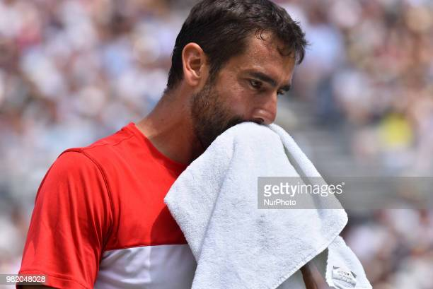 Marin Cilic of Croatia celebrates his victory against Nick Kyrgios of Australia in the semi final singles match on day six of Fever Tree...