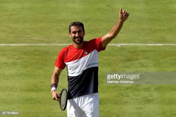 Marin Cilic of Croatia celebrates his win during his men's singles match against Fernando Verdasco of Spain during Day One of the FeverTree...