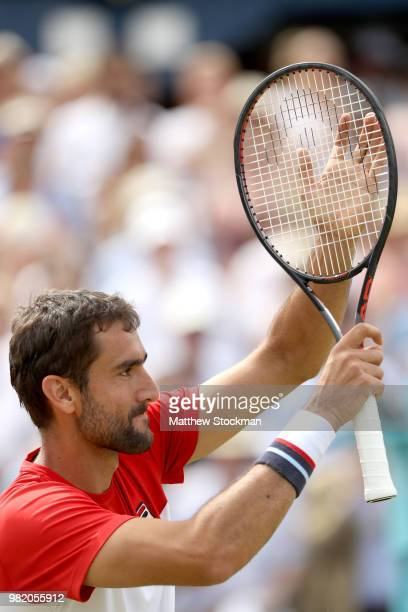 Marin Cilic of Croatia celebrates his win during his men's singles semifinal match against Nick Kyrgios of Australia on Day Six of the FeverTree...
