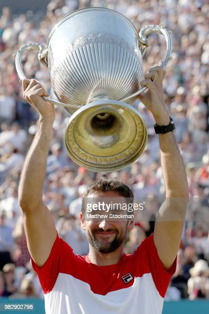 Marin Cilic of Croatia celebrates his win during his men's singles final match against Novak Djokovic of Serbia on Day Seven of the FeverTree...