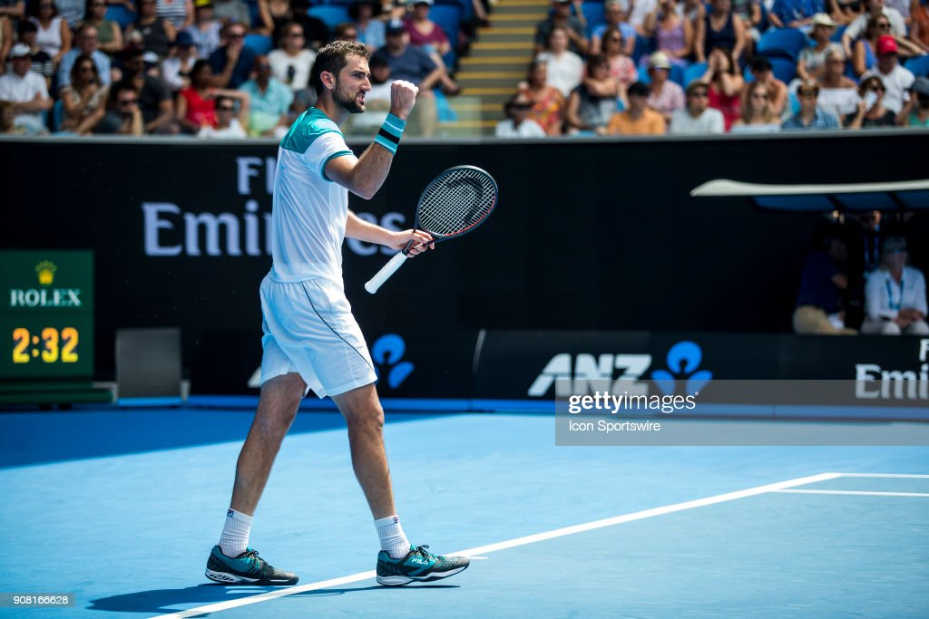 Marin Cilic of Croatia celebrates in his fourth round match during the 2018 Australian Open on January 21, 2018, at Melbourne Park Tennis Centre in Melbourne, Australia.