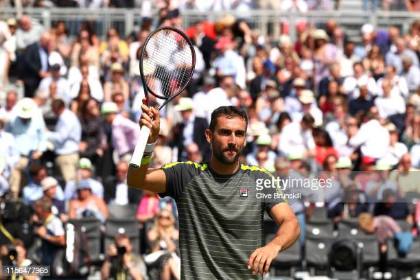 Marin Cilic of Croatia celebrates victory after his First Round Singles Match against Christian Garin of Chile during Day One of the FeverTree...