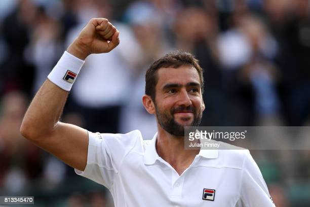 Marin Cilic of Croatia celebrates victory after the Gentlemen's Singles quarter final match against Gilles Muller of Luxembourg on day nine of the...