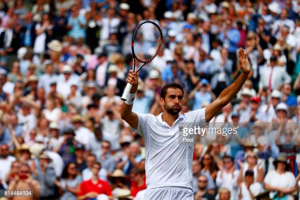 Marin Cilic of Croatia celebrates victory after the Gentlemen's Singles semi final match against Sam Querrey of The United States on day eleven of...