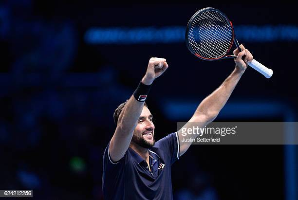 Marin Cilic of Croatia celebrates victory during the men's singles match against Kei Nishikori of Japan on day six of the ATP World Tour Finals at O2...