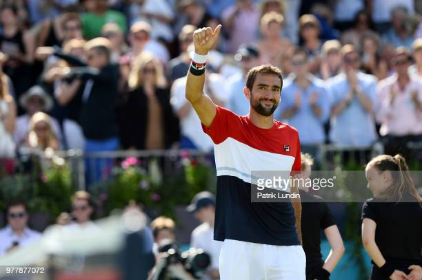 Marin Cilic of Croatia celebrates victory in the match against Fernando Verdasco of Spain during Day one of the FeverTree Championships at Queens...
