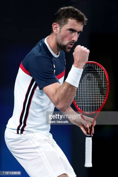 Marin Cilic of Croatia celebrates winning a point during his group E singles match against Dennis Novak of Austria during day two of the 2020 ATP Cup...