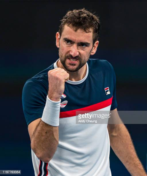 Marin Cilic of Croatia celebrates winning a point during his Group E singles match against Kacper Zuk of Poland during day four of the 2020 ATP Cup...