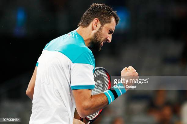 Marin Cilic of Croatia celebrates winning a point in his third round match against Ryan Harrison of the USA on day five of the 2018 Australian Open...