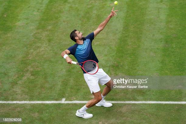 Marin Cilic of Croatia competes during day 2 of the MercedesCup at Tennisclub Weissenhof on June 08, 2021 in Stuttgart, Germany.