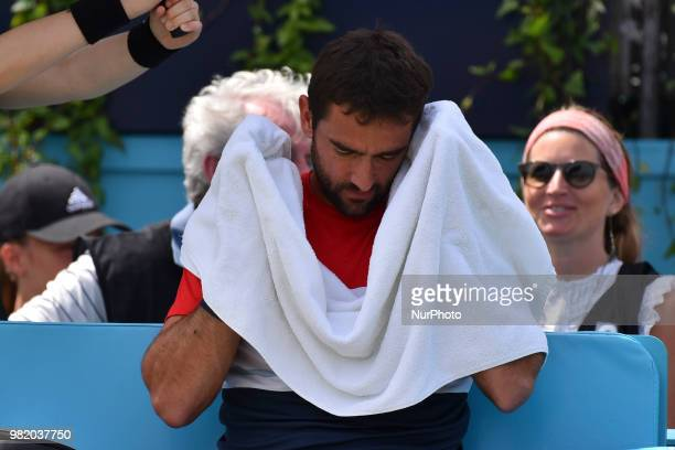 Marin Cilic of Croatia during the semi final match against Nick Kyrgios of Australia during Day six of the FeverTree Championships at Queens Club on...