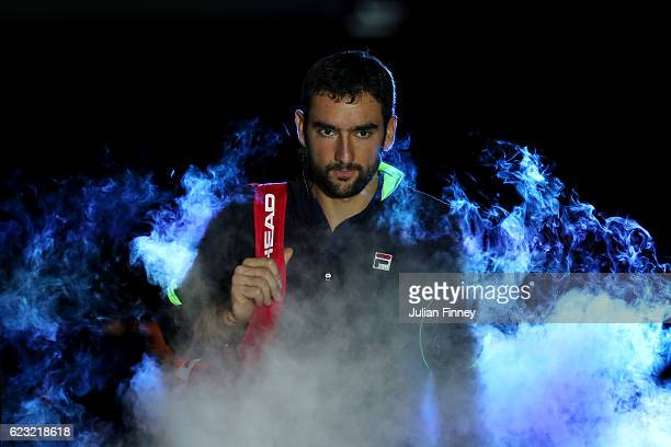 Marin Cilic of Croatia enters the court prior to the mens singles match against Andy Murray of Great Britain on day two of the ATP World Tour Finals...