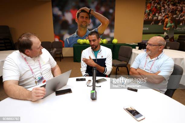 Marin Cilic of Croatia fields questions from the media at the ATP Media Day during the BNP Paribas Open at the Indian Wells Tennis Garden on March 7...
