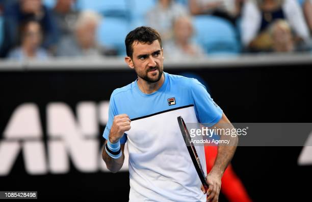 Marin Cilic of Croatia gestures competing against Roberto Bautista Agut of Spain during Australian Open 2019 Men's Singles match in Melbourne...