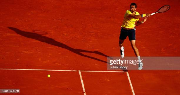 Marin Cilic of Croatia hits a forehand return during his Mens Singles match against Fernando Verdasco of Spain at MonteCarlo Sporting Club on April...