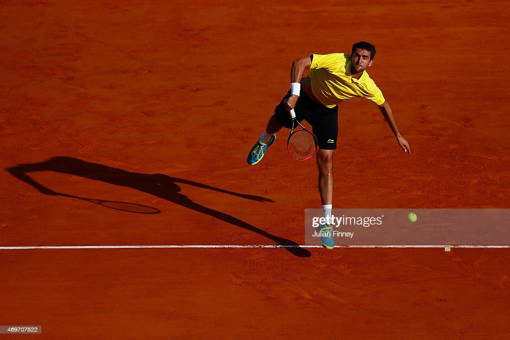 Marin Cilic of Croatia in action against Florian Mayer of Germany during day three of the Monte Carlo Rolex Masters tennis at the Monte-Carlo Sporting Club on April 14, 2015 in Monte-Carlo, Monaco.