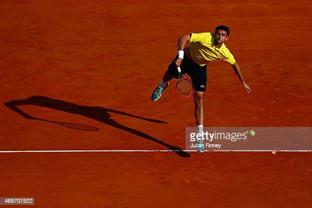 Marin Cilic of Croatia in action against Florian Mayer of Germany during day three of the Monte Carlo Rolex Masters tennis at the MonteCarlo Sporting...