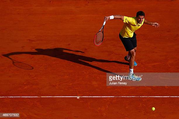 Marin Cilic of Croatia in action against Florian Mayer of Germany during day three of the Monte Carlo Rolex Masters tennis at the Monte-Carlo...