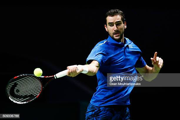 Marin Cilic of Croatia in action against Gilles Muller of Luxembourg during day 3 of the ABN AMRO World Tennis Tournament held at Ahoy Rotterdam on...
