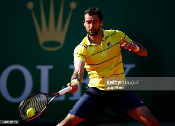 Marin Cilic of Croatia in action against Kei Nishikori of Japan during day six of the ATP Masters Series Monte Carlo Rolex Masters at MonteCarlo...