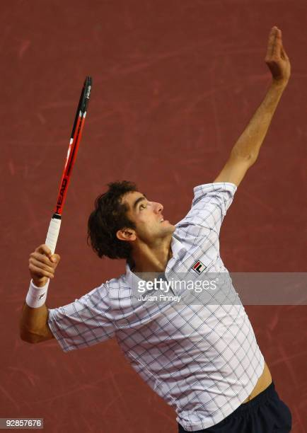 Marin Cilic of Croatia in action against Radek Stepanek of Czech Republic during Day Five of the Davidoff Swiss Indoors Tennis at St Jakobshalle on...