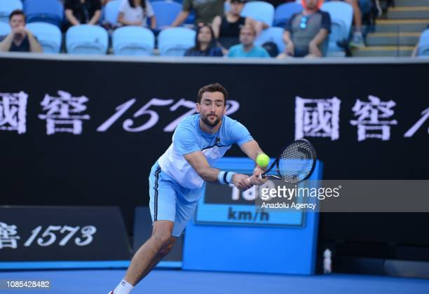 Marin Cilic of Croatia in action against Roberto Bautista Agut of Spain during Australian Open 2019 Men's Singles match in Melbourne Australia on...