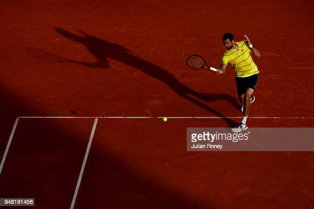 Marin Cilic of Croatia in action during his Mens Singles match against Fernando Verdasco of Spain at MonteCarlo Sporting Club on April 18 2018 in...