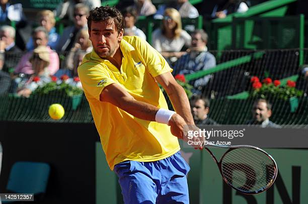 Marin Cilic of Croatia in action during the match between Argentina and Croatia for the quarterfinals of the Davis Cup at Mary Teran de Weiss stadium...