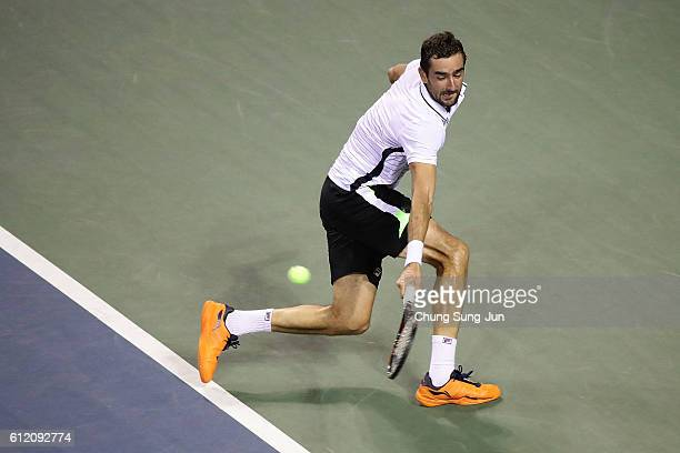 Marin Cilic of Croatia in action during the men's singles first round match against Benoit Paire of France on day one of Rakuten Open 2016 at Ariake...