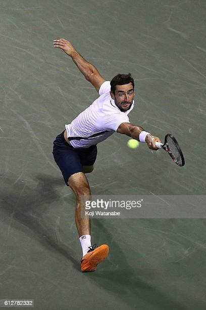 Marin Cilic of Croatia in action during the men's singles first round match against Fernando Verdasco of Spain on day three of Rakuten Open 2016 at...