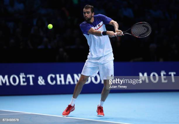 Marin Cilic of Croatia in action in his match against Alexander Zverev of Germany during day one of the Nitto ATP World Tour Finals tennis at the O2...