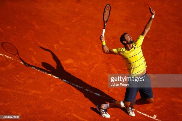 Marin Cilic of Croatia in action in his singles match against Kei Nishikori of Japan during day six of ATP Masters Series Monte Carlo Rolex Masters...