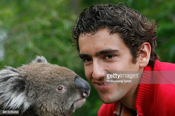 Marin Cilic of Croatia pays a visit to Melbourne Zoo on day seven of the Australian Open 2008 on January 20 2008 in Melbourne Australia