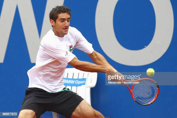 Marin Cilic of Croatia plays a back hand during his match against Michael Berrer of Germany at day 4 of the BMW Open at the Iphitos tennis club on...