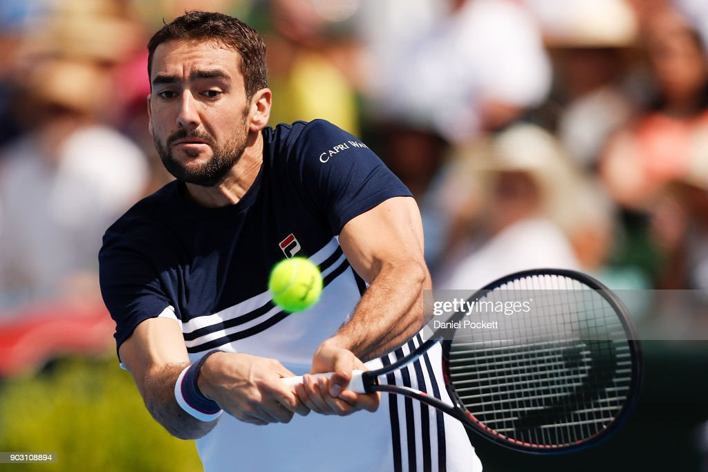 Marin Cilic of Croatia plays a backhand against Matt Ebden of Australia during the 2018 Kooyong Classic at Kooyong on January 10, 2018 in Melbourne, Australia.