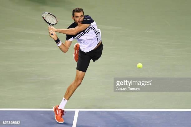 Marin Cilic of Croatia plays a backhand against Yasutaka Uchiyama of Japan during day three of the Rakuten Open at Ariake Coliseum on October 4 2017...