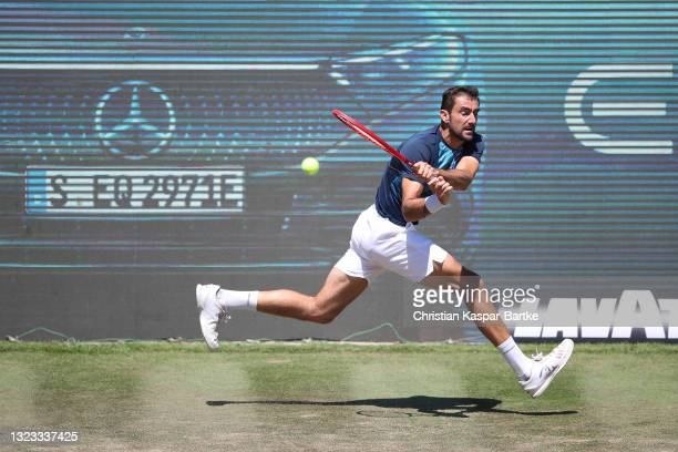 Marin Cilic of Croatia plays a backhand during his final match against Felix Auger-Aliassime of Canada during day 7 of the MercedesCup at Tennisclub...