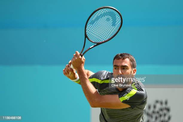 Marin Cilic of Croatia plays a backhand during his First Round Singles Match against Christian Garin of Chile during Day One of the Fever-Tree...