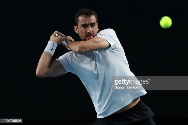 Marin Cilic of Croatia plays a backhand in his match against Jeremy Chardy of France during day one of the ATP 250 Murray River Open at Melbourne...
