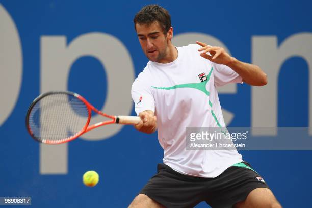 Marin Cilic of Croatia plays a fore hand during his matach against Nicolas Almagro of Spain on day 6 of the BMW Open at the Iphitos tennis club on...