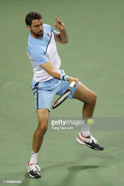 Marin Cilic of Croatia plays a forehand against David Goffin of Belgium in the first round of the Eisenhower Cup a Tie Break Tens event on Day 2 of...