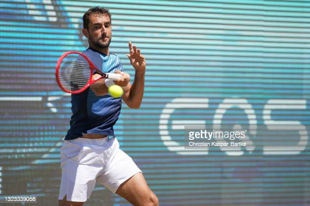 Marin Cilic of Croatia plays a forehand during his final match against Felix Auger-Aliassime of Canada during day 7 of the MercedesCup at Tennisclub...