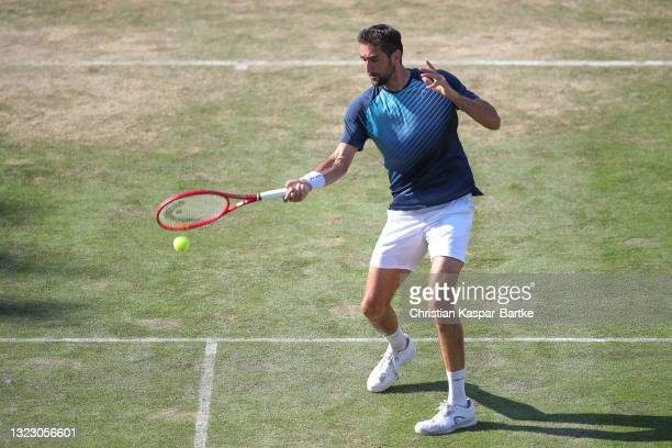 Marin Cilic of Croatia plays a forehand during his match against Denis Shapovalov of Canada during day 5 of the MercedesCup at Tennisclub Weissenhof...