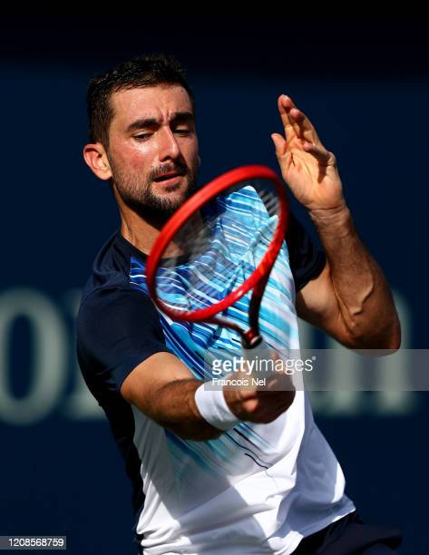 Marin Cilic of Croatia plays a forehand during his men's singles match on Day Nine of the Dubai Duty Free Tennis at Dubai Duty Free Tennis Stadium on...