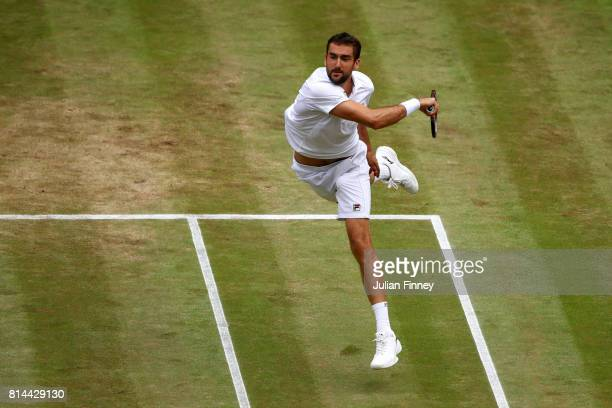 Marin Cilic of Croatia plays a forehand during the Gentlemen's Singles semi final match against Sam Querrey of The United States on day eleven of the...