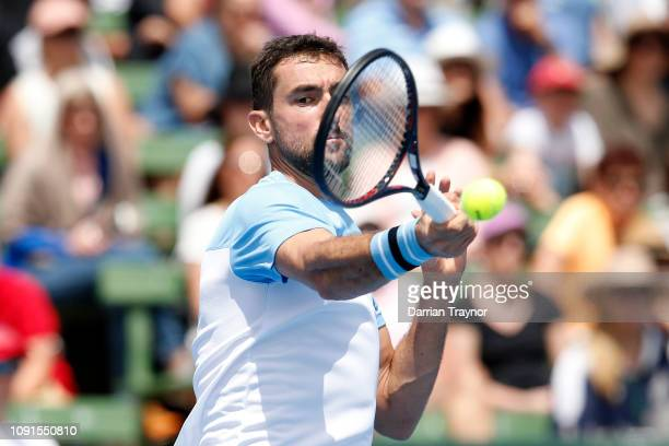 Marin Cilic of Croatia plays a forehand in his match against Kevin Anderson of South Africa during day two of the 2019 Kooyong Classic at the Kooyong...