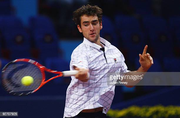 Marin Cilic of Croatia plays a forehand in his match against Philipp Petzschner of Germany during Day Three of the Davidoff Swiss Indoors Tennis at...