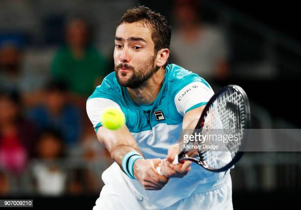 Marin Cilic of Croatia plays a forehand in his third round match against Ryan Harrison of the USA on day five of the 2018 Australian Open at...