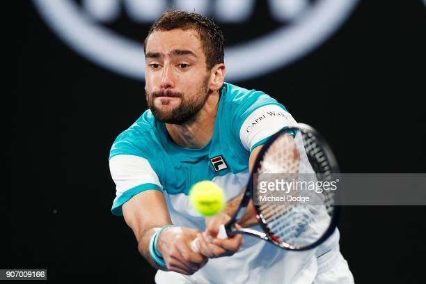 Marin Cilic of Croatia plays a forhand in his third round match against Ryan Harrison of the USA on day five of the 2018 Australian Open at Melbourne...